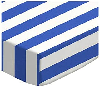 product image for SheetWorld Fitted 100% Cotton Percale Portable Mini Crib Sheet 24 x 38, Royal Blue Stripe, Made in USA