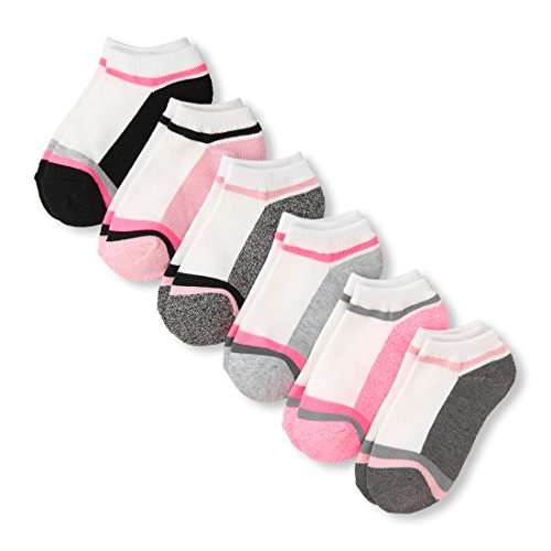 The Children's Place Big Girls' 6 Pack Sporty Ankle Sock, Multi Clr, S 11-13 by The Children's Place