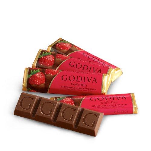 (GODIVA Chocolatier Small Milk Chocolate Strawberry Truffle Bars)