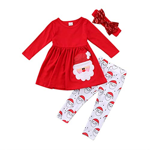 Baby Christmas Outfit Santa Claus Long Sleeve Tops Dress Pants Leggings Toddler Girl Clothes Sets Red (Christmas Toddlers For Outfit)