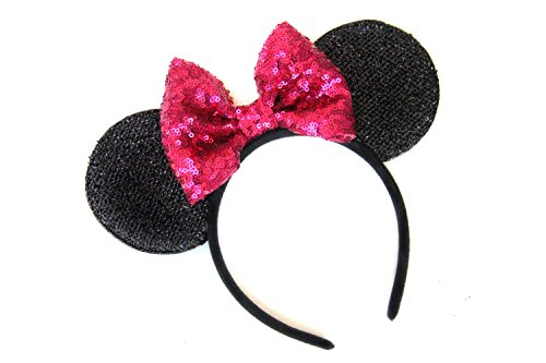 (CLGIFT hot pink Mickey Minnie Ears, Rainbow Minnie Mouse Ears, Sparkly Minnie Ears, Mouse Ears, Electrical Parade Ears,Handmade, One size fits)