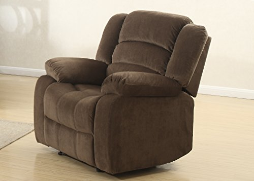 Cheap AC Pacific Bill Collection Modern Fabric Upholstered Living Room Reclining Chair with Padded Pillow Top Armrests, Brown