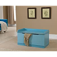Kings Brand Furniture Wood Storage Bench Toy Box, Turquoise Blue