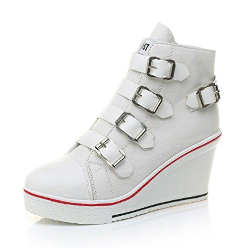 Coin Toile À Bout Rond Des Femmes Ochenta Talons Plateforme Chaussures De Pompe De Baskets Boucle De Mode Blanc