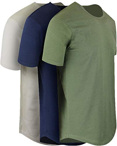 ShirtBANC Mens Hipster Hip Hop Long Drop Tail T Shirts (Military Green | Navy | Vintage White, M) ()