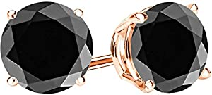 1 Carat Total Weight Black Diamond Solitaire Stud Earrings Pair 14K Rose Gold Popular Premium Collection 4 Prong Push Back