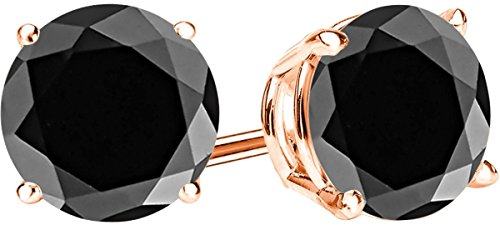 1 Carat Total Weight Black Diamond Solitaire Stud Earrings Pair 14K Rose Gold Popular Premium Collection 4 Prong Push - Gold Diamond Prong