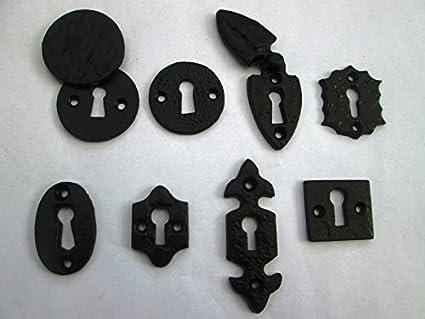 Ironmongery World® Negro de hierro fundido envejecido cerradura clave agujero de instalación para cerradura de
