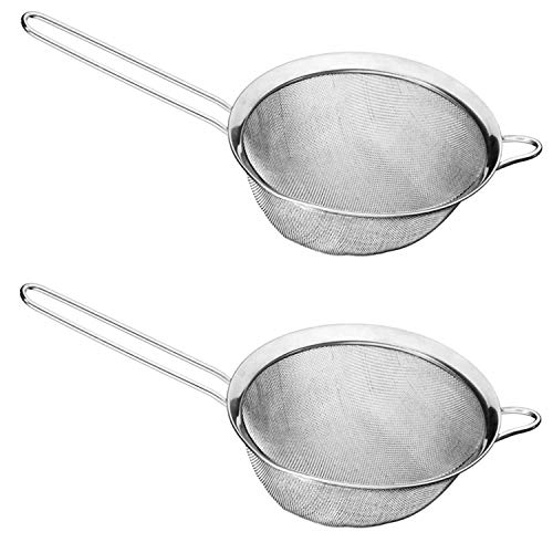 AxeSickle Fine Mesh Strainer 2PCS Stainless Steel Strainer Colander Sieve 7.8 inch Handheld Strainers for Straining Quinoa, Spaghetti, Rice, Vegetable, Yogurt, and Tea.