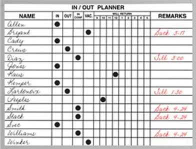 Magna Visual In/Out Planner, 18'' x 24'', White, 24 x 18 by Magna Visual