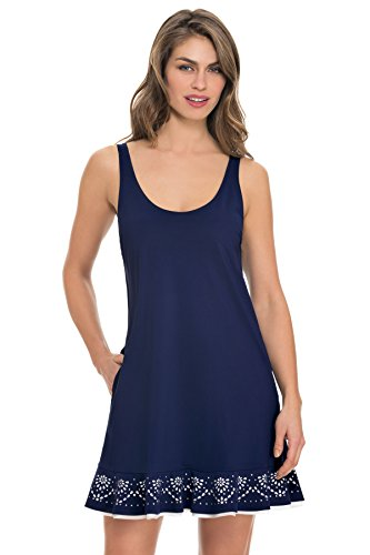 Profile by Gottex Women's Enchantment Tank Dress Swim Cover Up Navy M