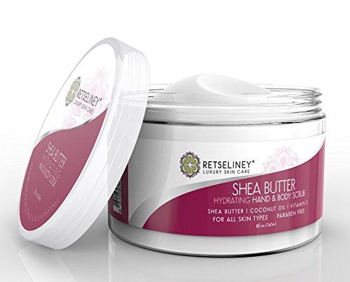 Retseliney Organic Shea Sugar Scrub for Hand & Body, Anti Aging Moisturizer for Skin, Hydration Exfoliant Cream, Natural Exfoliator with Vitamin E, Coconut Oil & Shea Butter