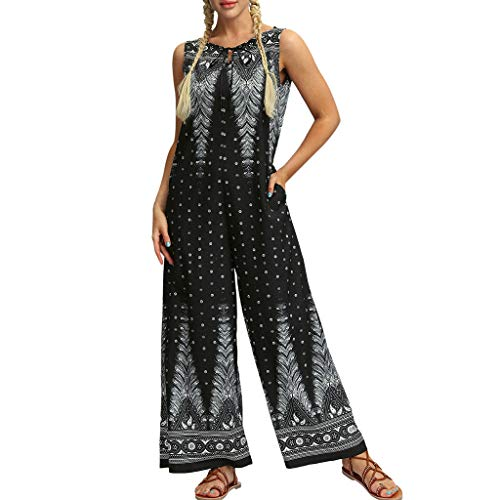 QIQIU Womens Yoga Gypsy Jogging Harem Pants Casual Folk Style Baggy Trousers Jumpsuit Wide Leg Floral Romper Black -
