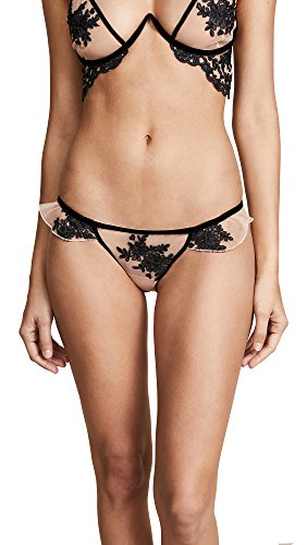 For Love & Lemons Women's Noemi Ruffle Panties, Black, Large