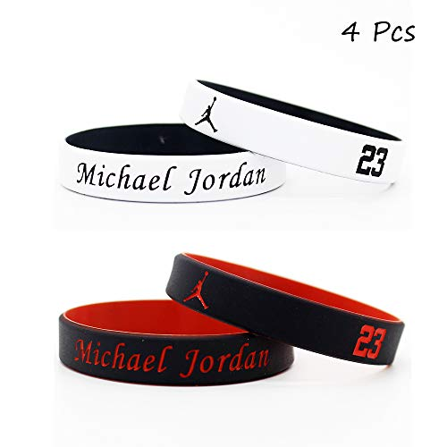 FANwenfeng Basketball Star Fans Signature Double Colour Wristbands Sport Absorb Sweat Silicone Bracelet 4 Pcs - Signature Michael Basketball Jordan