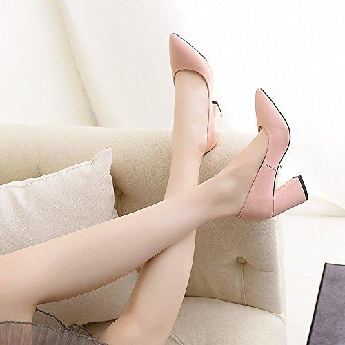 spesso pelle alto con powderred superiore estate scarpe tacco e singolare luce punta in femminile il Primavera qFzwEw