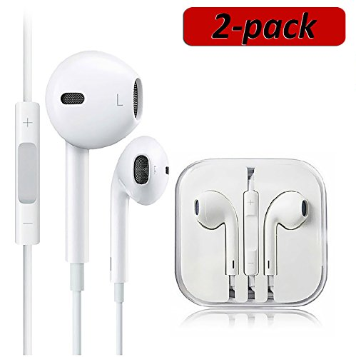 2 Pack Premium Earphones/Earbuds/Headphones/Headsets to 3.5mm with Stereo Mic&Remote Noise Isolating Control Headphone for Most Smartphones – White