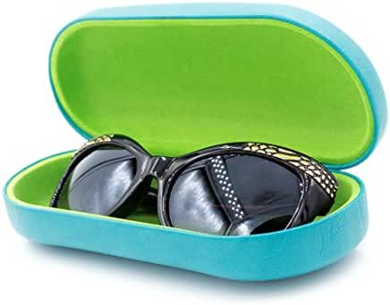 Hard Eyeglass & Sunglasses Cases | Oversized To Protect Glasses w/Large to Extra Large Frames | Great For Men & Women | Classic Looking Finish | Clamshell