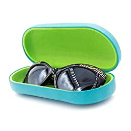 Hard Eyeglass & Sunglasses Case with Microfiber Cleaning Cloth | Protects Glasses w/Large & Extra Large Frames | for Men & Women | Clam-shell (AS87 Teal With Cloth)