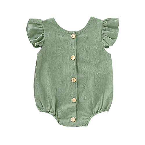 Emimarol Newborn Infant Baby Girl Bodysuit Sleeveless Solid Romper Bodysuit Clothes Outfits (6M-24M) Green