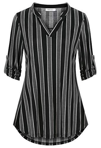 (Helloacc Womens Stripe 3/4 Sleeve Shirt,Notch Neck Long Tunic for Women Plus Size Teens Henley Shirts Asymmetrical Layered Tops Classy Polo Shirts Outdoor Ruching Summer Workout Clothes Black Gray 1X)