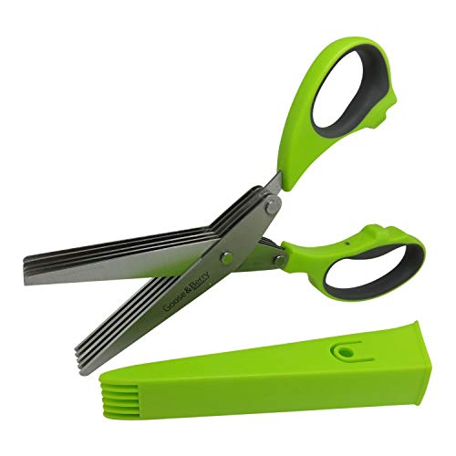 Herb Scissors - Quickly Cut Fresh Herbs - Stainless Steel 5 Blade Kitchen Scissors with Cover