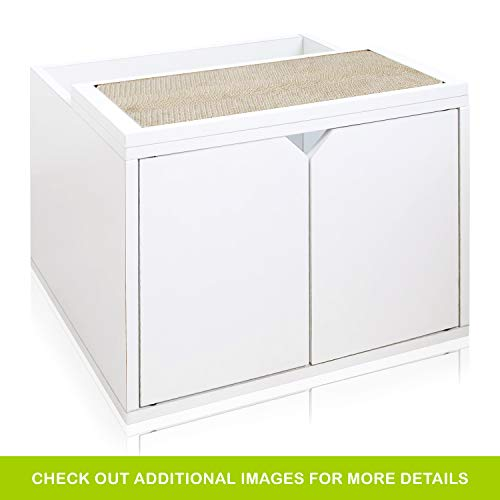 Way Basics Eco Friendly Modern Cat Litter Box Enclosure with Doors, White (Tool-Free Assembly & Uniquely Crafted from Sustainable Non Toxic Zboard Paperboard)
