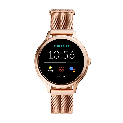 Fossil Gen 5E Women's Smartwatch with stainless steel mesh strap, Full Touch, AMOLED screen, Bluetooth calling, and…