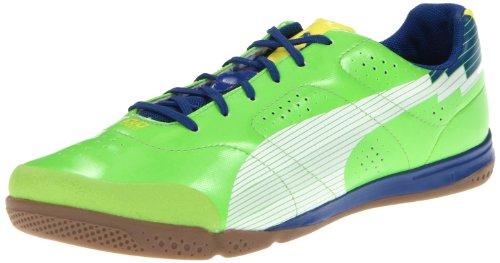 PUMA Evospeed 1 Sala Soccer Shoe,Jasmine Green/White/Monaco Blue,9 D US Men's/10.5 B US Women's
