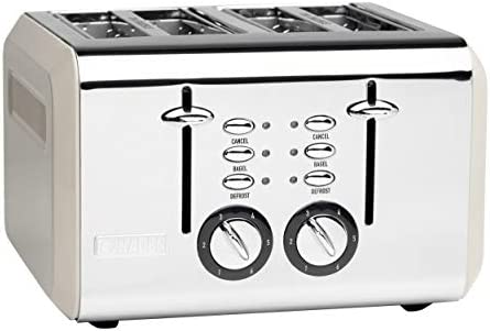 Haden COTSWOLD 4-Slice, Wide Slot Retro Toaster with Browning Control, Cancel, and Defrost Settings in Putty Beige
