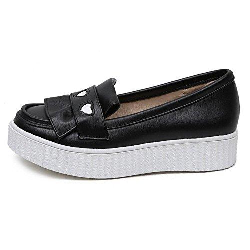 TAOFFEN Mujer Moda sin Cordones Plano Boca Baja Zapatos Casual Mocasine Zapatos Negro