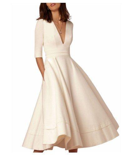 De Arroz Vestido Fiesta De Vestido Vestidos Mujer Grande blanco JIALELE Mujer V Fiesta Para Péndulo CgOxRnqw