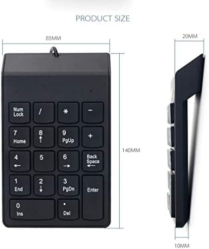 18 Key Chocolate Mini Keyboard Black Easy To Carry Wired Numeric Keypad Calculation Waterproof Suitable For Office
