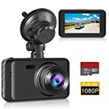 Dash Cam Car Dashboard Camera, Full HD 1080P 3' Screen 170 Degree Wide Angle IPS Screen WDR Lens Vehicle On-Dash Video Recorder with G-Sensor,Parking Monitoring,Recording and 32GB SD Card Included