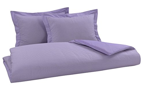 DELANNA Reversible Duvet Cover Set 100% Cotton 3 Piece Percale Duvet Cover Set Includes Duvet Cover and 2 Pillow Shams Crisp, Comfortable, Breathable, Soft (Full/Queen, Lilac Gingham)