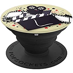 Cinema Film Strip Hollywood Movie Clapboard Monogram - L - PopSockets Grip and Stand for Phones and Tablets