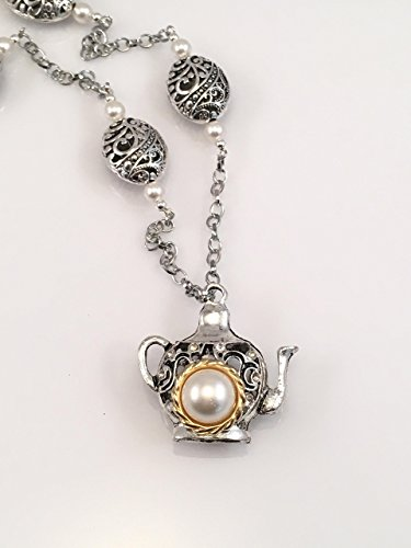 Antiqued Pewter Teapot with Vintage Glass Pearls Necklace Gypsy Pot