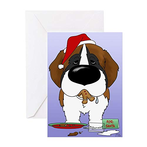 - CafePress St. Bernard Santa's Cook Greeting Card (10-pack), Note Card with Blank Inside, Birthday Card Glossy