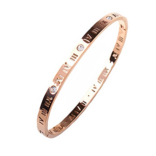 Baoli Zircon Jewelry Roman Numerals Bangle Bracelet for Women (Rose Gold)