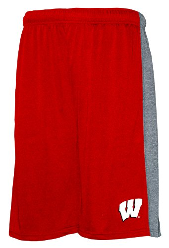 (Old Varsity Brand NCAA Wisconsin Badgers Men's Poly Shorts with Side Panel, Red/Grey,)