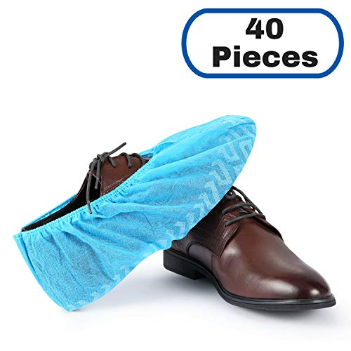 MIFFLIN Disposable Shoe Covers (Blue, 40 Pieces) Non-Slip Water Resistant Durable Boot Covers Shoe Protector Surgical Booties One Size Fits Most