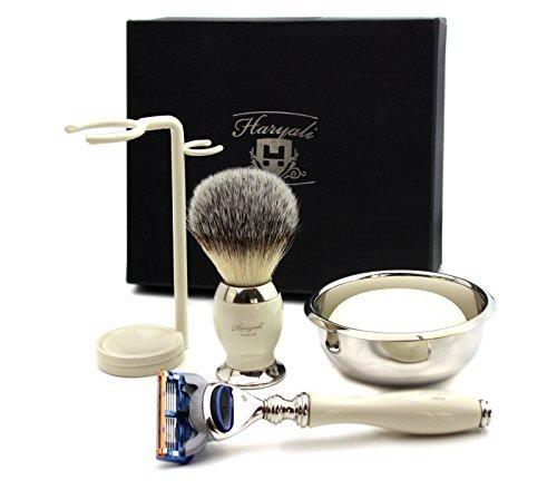 Ivory Colour Shaving Kit Gift for Men(Gillette Fusion Razor, Brush, Bowl, Stand) Haryali London