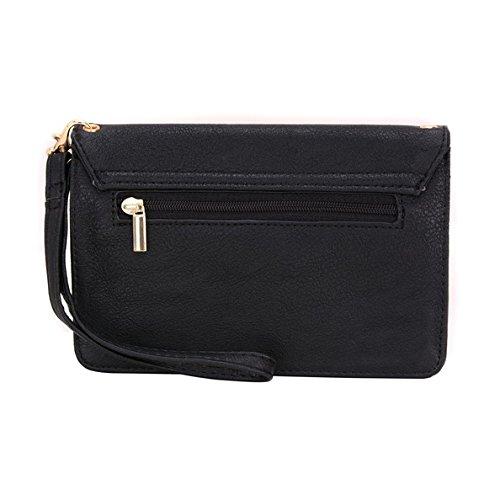 Conze Mujer embrague cartera todo bolsa con correas de hombro compatible con Smart teléfono para Huawei P9/Plus/Lite negro negro negro
