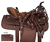 AceRugs 14 15 16 17 18 Brown Synthetic Light Weight Barrel Racing Pleasure Trail Western Horse Saddle TACK Full Quarter Horse Bars