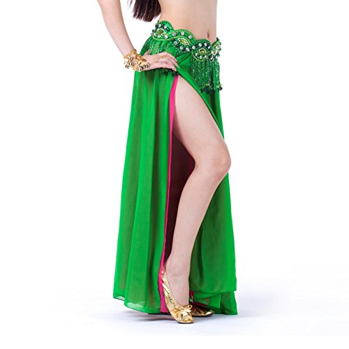 ESHOO Women Belly Dance Petticoat Costume Chiffon Skirt Mixed Color Double Split (Sexy Belly Dance Costumes)