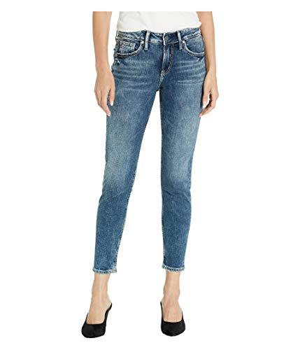Silver Jeans Co. Women's Avery Curvy Fit High Rise Skinny Jeans, Medium Vintage Indigo, 26x27