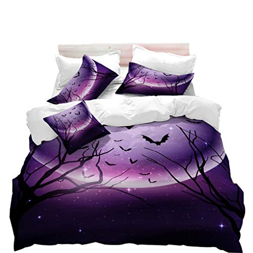 VITALE Duvet Cover Set, Halloween Printed King Size Duvet Cover, Cartoon Purple Moon Bat Printed 3 Pieces King Size Bedding Set Kids Bedding Halloween Decor