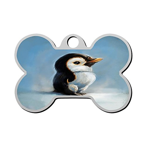 HAOPENGYOU Serious Penguin Custom Pet ID Tags Personalized Bone Shape Dog Tags & Cat Tags