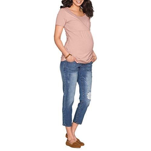 Zhhlinyuan Doubles Couches Soins De Maternité Col Ras Du Cou Robe Confortable Pour Les Femmes Enceintes Et Les Mères Qui Allaitent Vêtements Rose