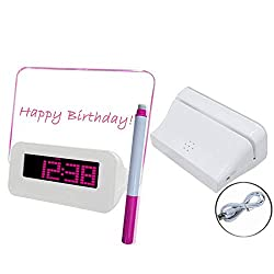 Alarm Clocks for Bedrooms - Fluorescent Message Board Digital LED Alarm Clock Calendar Night Light Modem Alarm Backlight Desk Clock with USB Cable